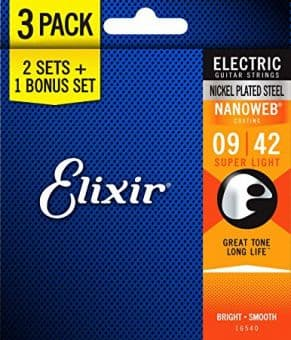 Струны для электрогитары 09-42 Elixir 16540 Nanoweb with Anti-Rust Plain Steels Super Light 2 Sets + 1 Bonus Set