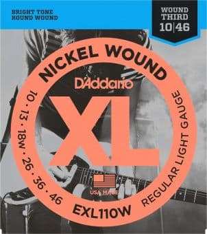 10-46 D'Addario EXL110W Nickel Wound Regular Light Gauge Wound Third