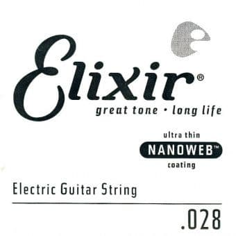 Струны поштучно 28 Elixir 15228 Nanoweb Electric Nickel Plated Steel String