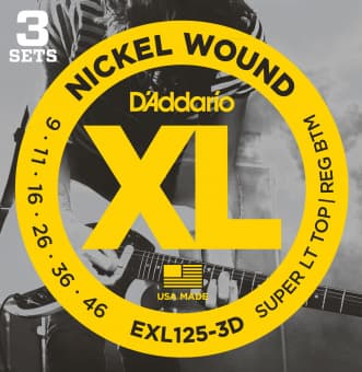 09-46 D'Addario EXL125-3D Nickel Wound Super LT TOP/ REG BTM 3 Sets