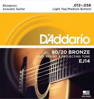 12-56 D'Addario EJ14 80/20 Bronze Light Top/Medium Bottom