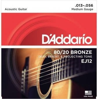13-56 D'Addario EJ12 80/20 Bronze Medium Gauge